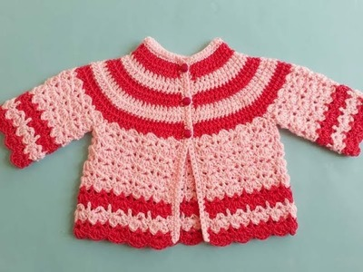 How To Crochet Round Neck Baby Jacket Sweater