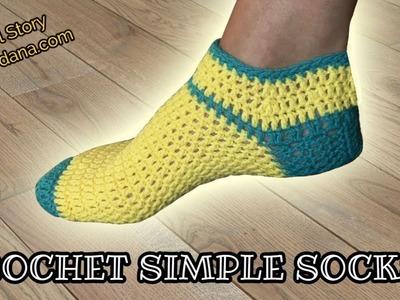 How to Crochet Simple Slipper Socks (Heklane nazuvice)