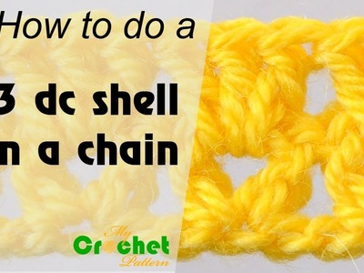 How to do a 3 double crochet shell on a chain - Crochet for beginners
