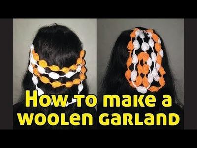 How to make a woolen garland of mogra buds