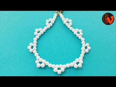 How to make Pearl Beaded Necklace Tutorial. Jewellery Making