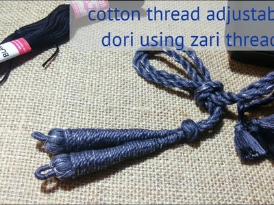 How to make perfect cotton necklace rope using zari thread || periwinkle TV