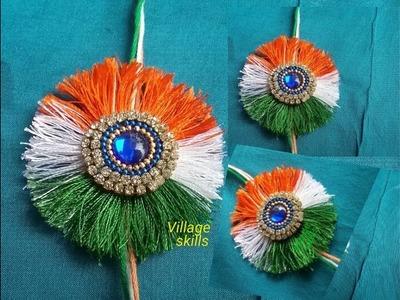 How to make Rakhi #16 , INDEPENDENCE DAY special l Tri colour silk thread Rakhi making ideas l DIY