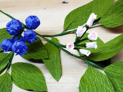 How to make Tissue and Crepe paper Blueberry flowers and fruit (flower # 284)