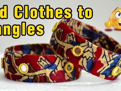 How to reuse old clothes to Designer Bangles | How to make fabric bangles | Kalamkari | #diy | #112