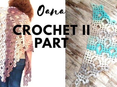 Shawl filet&pufs crochet part 2 by Oana