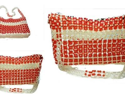 পুতির ব্যাগ.How to make beaded bag(1st part).my unique design