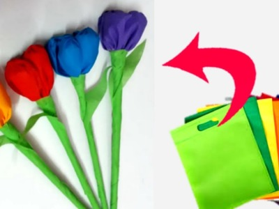 Tulip flower making |How to make Tulip flower from carry bags| Tulip flower making craft