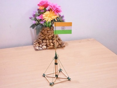 Art and Craft Idea | How to Make Stick Craft Miniature Flag Pole Model | Showpiece