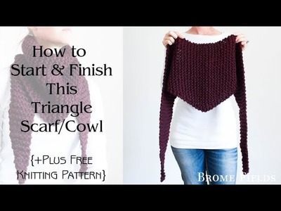 Claret Triangle Scarf Cowl Knitting Pattern