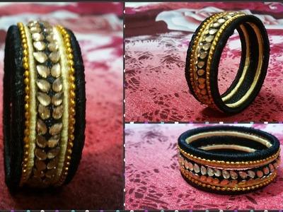 DIY Designer Silk Thread Bangle. How to make beautiful Silk Thread Kada