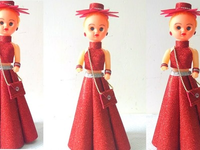DIY doll decoration.Barbie doll dresses with glitter foam sheet.How to make a doll dress