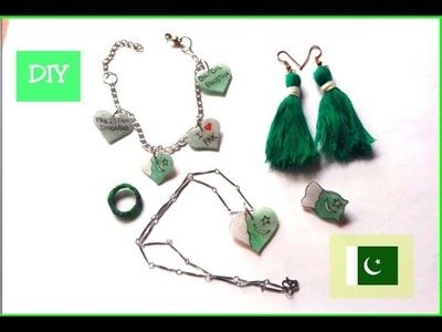 DIY How to make 14th August Jewelry out of Hot Glue Gun-Pakistan Independence Day-Jewelry ideas