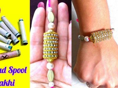 DIY How to make rakhi at home |Rakhi using thread spool |Handmade craft idea mima easy art design