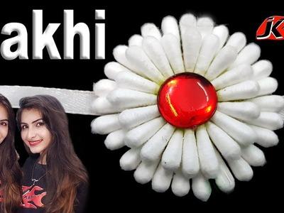 DIY How to make rakhi at home | Easy Cotton buds rakhi | JK Arts 1405