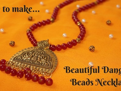 #Durga Puja 1: How To Make Beautiful Dangling Beads Oxidised Necklace|| Ananya  Mondal