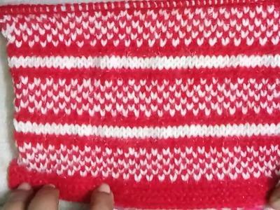Easy Two color knitting pattern no.87|Hindi