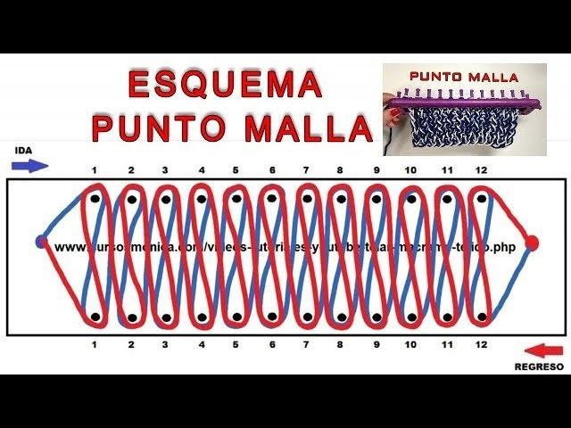 ESQUEMA PUNTO MALLA TELAR RECTANGULAR. DIAGRAM POINT NET KNITTING TUTORIAL