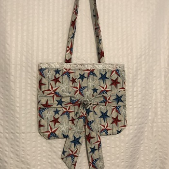 Hand made red , White and Blue star Tote bag