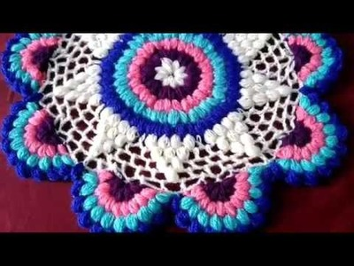 How to crochet new drsign puffy tablemat. thalposh. in marathi. English subtitles.रुमाल प्रकार-21