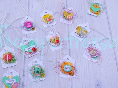 HOW TO DECORATE MINI TAGS.DIY EMBELLISHMENT.PROCESS VIDEO