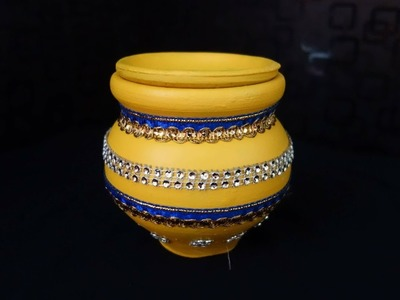 How to decorate pot for karva chauth| karva decoration for karvachauth| pot painting|kalash painting