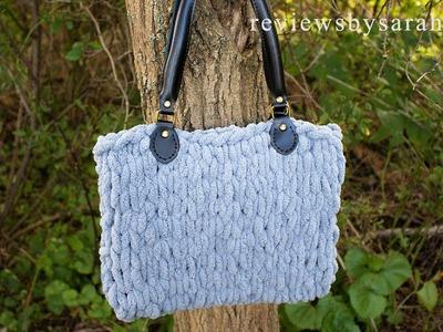 How to Finger Knit a Bag - Soft Knit Loop Handbag with Loops Yarn