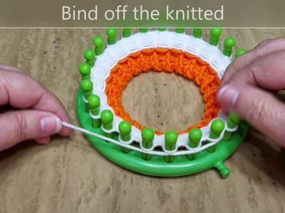 How to loom knit coasters, candy corn coaster