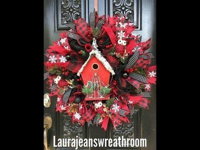 How to make a Buffalo Themed Christmas wreath with a bird house.