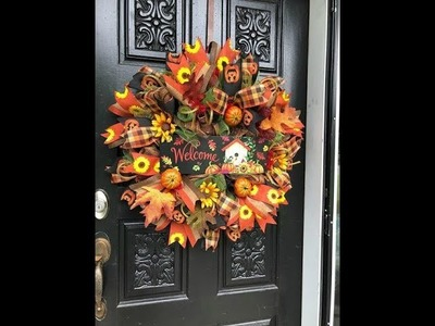 How to make a Fall Welcome Wreath in poofs, ruffles,& rolls