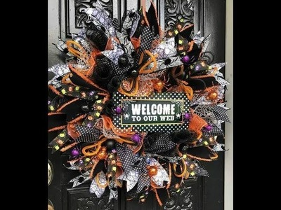 How to make a Halloween spider themed wreath in poofs and ruffles, & rolls