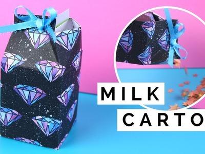 How to Make a Milk Carton Box - Gift Wrapping Idea - Treats or Candy Box Tutorial