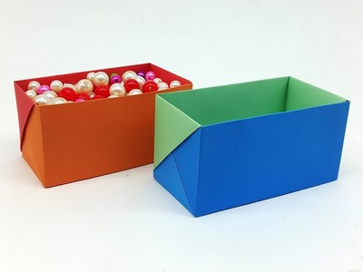 How to make a Paper Box with Colors Paper - Easy Origami Box Tutorial