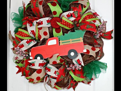 How to make a poof Christmas Truck wreath