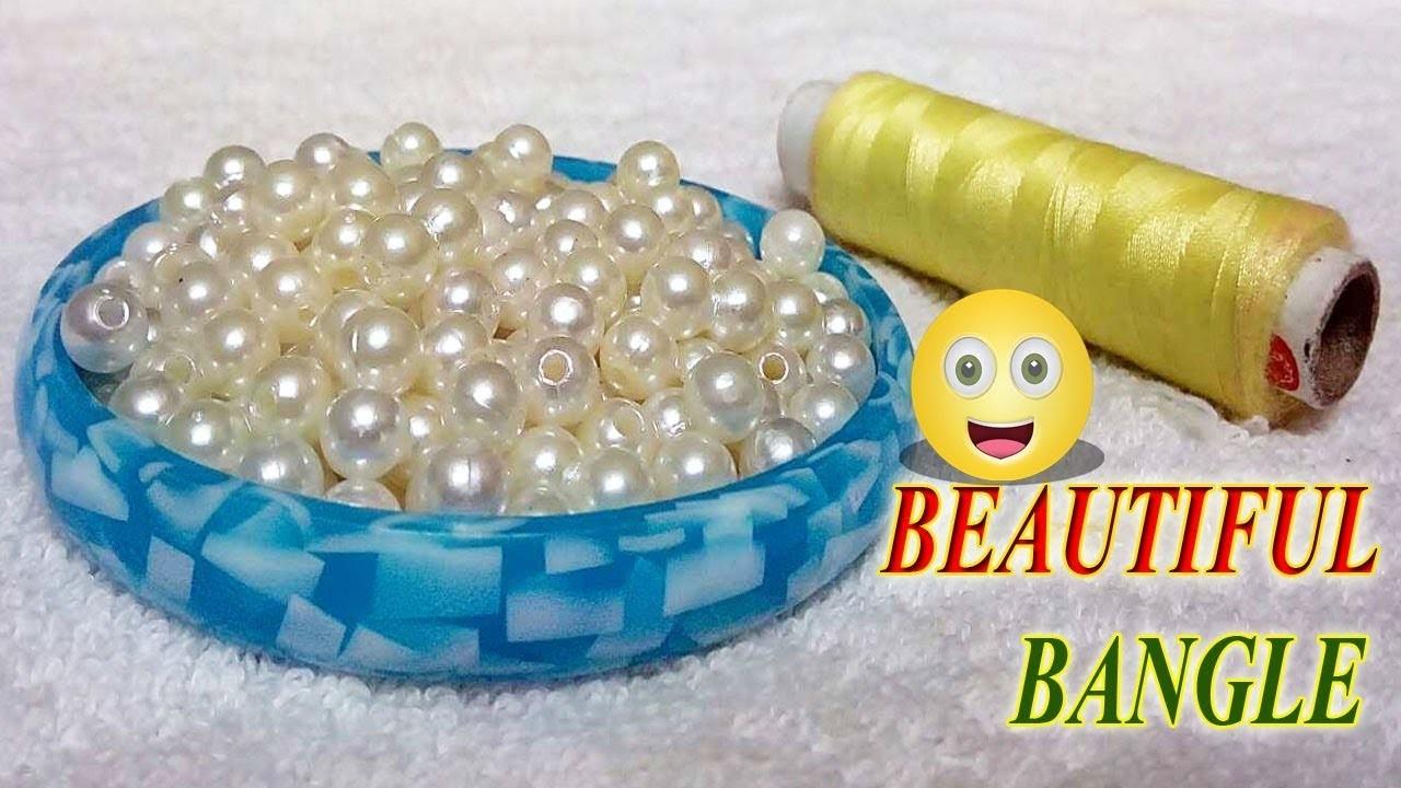 How to make beaded silk thread Bangles. designer fancy side bangles