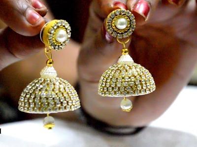 How to make earrings at home   Bridal pearl drop earrings   Silk Thread Jhumkas   #DIY   #125