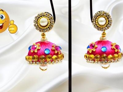 How to make earrings | silk thread jhumkas | | jewellery making | #diy | #133
