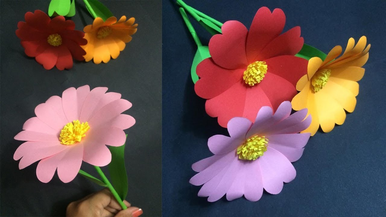 How To Make Easy Paper Flower Making Paper Flowers Step By Step