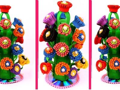 How to make flower vase with foam sheet - Foam sheet crafts - Flower vase making with foam sheet