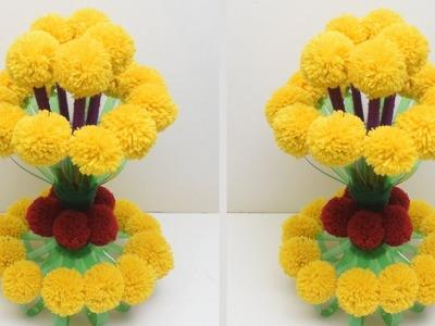 How to make Flower Vase with Wool_DIY New Design Woolen Guldasta_Waste Plastic Bottle Guldasta