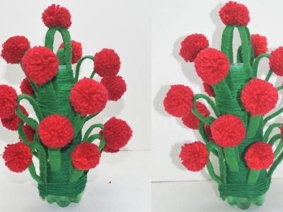 How To Make Flower Vase With Wool - NEW DESIGN WOOLEN GULDASTA.PlASTIC BOTTLE FLOWER POT