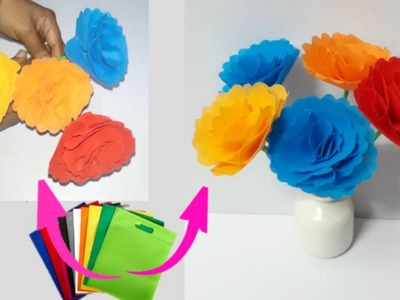 How to make flowers from Shopping carry bags at home|flower making craft idea|DIY flower making