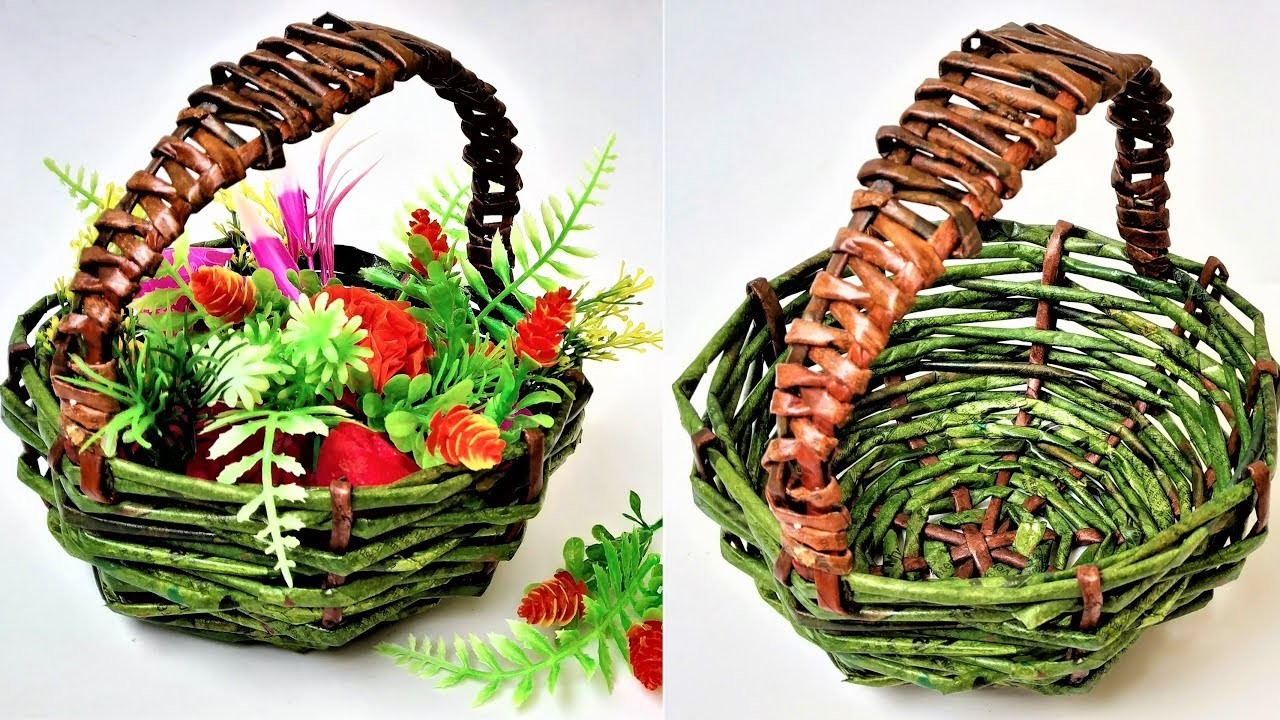 How To Make Newspaper Basket Diy Newspaper Flower Basket Newspaper