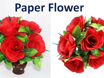 How to make paper flower at home || DIY Crepe Paper Rose  ||