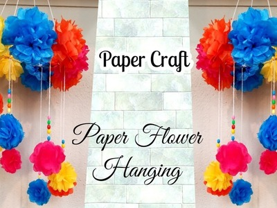 How to make paper flower windchime | DIY paper flower wall hanging