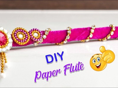 How to make paper flute for bal gopal.Janmastami 2018.Flute decoration | Paper craft idea | Artkala