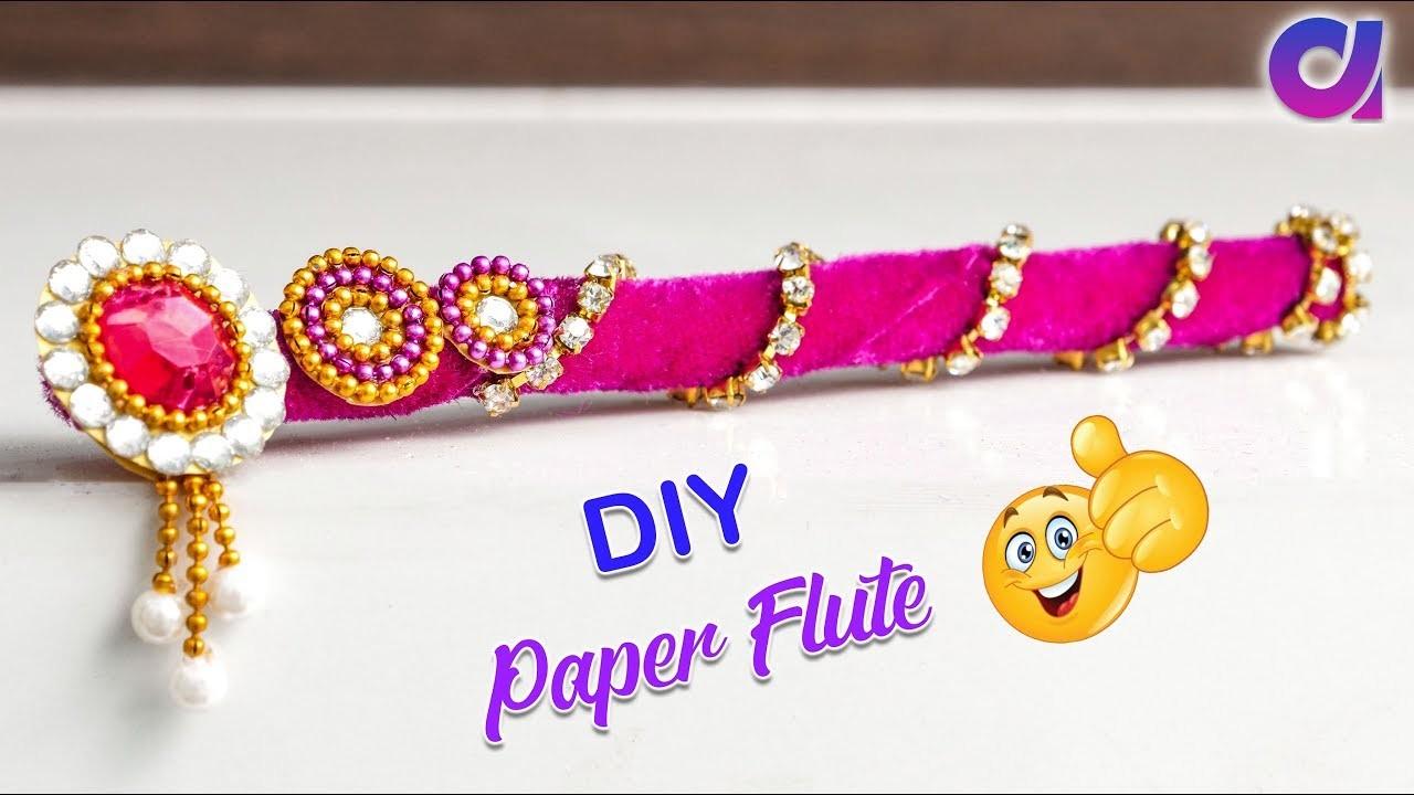 How to make paper flute for bal gopal.Janmastami 2018.Flute decoration | Paper craft idea | Artkala
