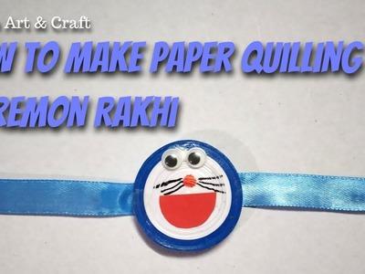 How to make Paper Quilling Doremon rakhi. kids craft