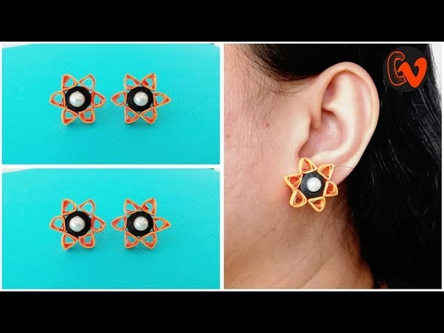 How To Make Quilling Stud Earrings Tutorial. Paper Quilling Earrings. Design 35
