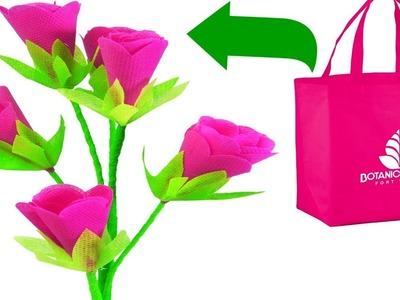 How To Make Shopping Bag Roses Branch    DIY Reusable Carry Bag Rose Flowers